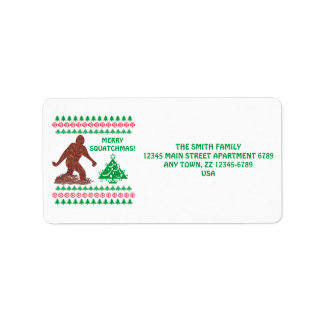 Z Bigfoot Walking Sasquatch Funny Christmas Label