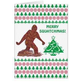 Z Bigfoot Walking Sasquatch Merry Squatchmas Funny Card