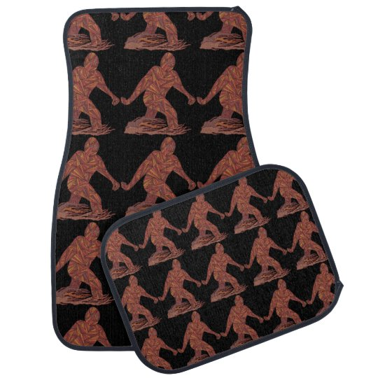 Z Bigfoot Walking Sasquatch Pattern On Black Car Mat