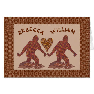 Z Bigfoot Walking Sasquatch Valentine Couple Cute Card