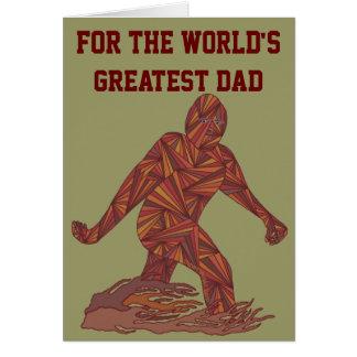 Z Bigfoot Walking Sasquatch Worlds Greatest Dad Card