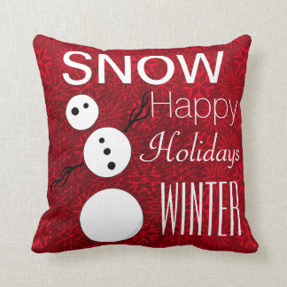 Z Black And White Snowman On Red Christmas Holiday Throw Pillow