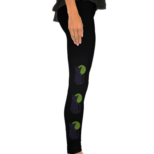 Z Black Cat And Moon Halloween Spooky Legging Tights