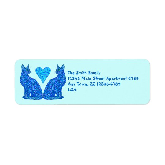 Z Blue Abstract Cats And Heart Art Return Address Label