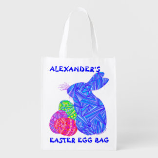Z Blue Bunny Personalized Reusable Easter Egg Bag Market Tote