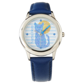 Z Blue Cat And The Moon Cat Lover Personalized Watch