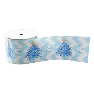 Z Blue Christmas Tree Colorful Holiday Chevron Grosgrain Ribbon
