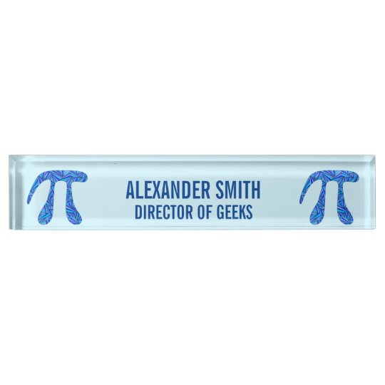 Z Blue Pi Symbol Math Geek Director Of Geeks Funny Name Plate