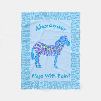 Z Blue Zebra Colorful Plays With Paint Fleece Blanket