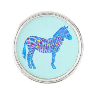Z Blue Zebra Pop Art Dots Stripes Colorful Safari Lapel Pin