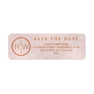Z Blush Pink Watercolor Monogram Wedding Set Return Address Label