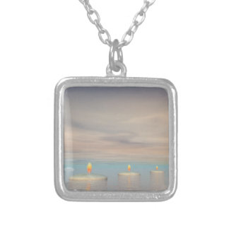 z+Candle steps - 3D render Silver Plated Necklace