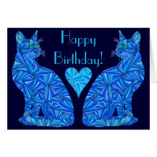 Z Electric Blue Abstract Cat Art Happy Birthday Card