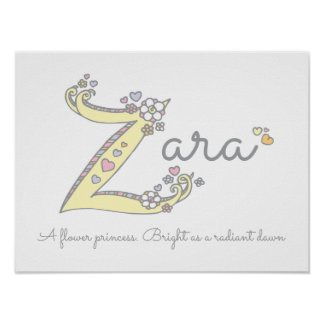 Z for Zara initial doodle art name meaning Poster