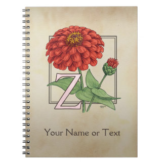 Z for Zinnia Flower Alphabet Monogram Notebook