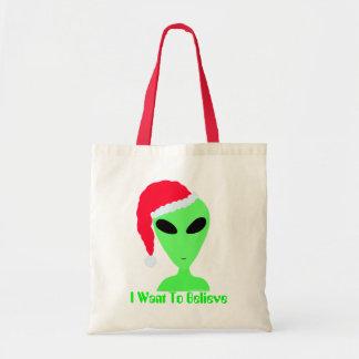 Z Funny Santa Alien Christmas I Want To Believe Tote Bag