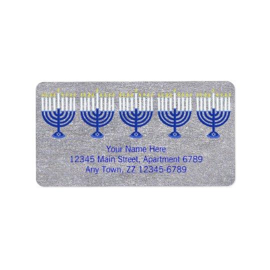 Z Hanukkah Dark Blue Menorah On Faux Silver Bling