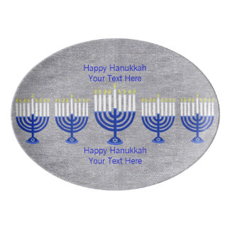 Z Hanukkah Dark Blue Menorah Silver Celebration Porcelain Serving Platter