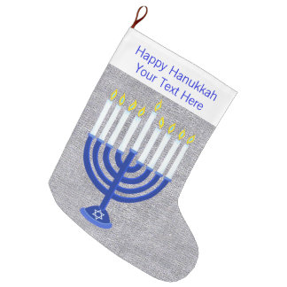 Z Hanukkah Dark Blue Menorah Silver Chrismukkah Large Christmas Stocking