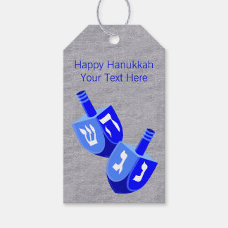 Z Hanukkah Dreidels In Blue Fun Design For Kids Pack Of Gift Tags