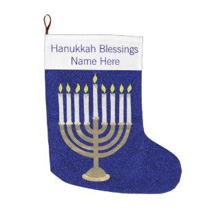 Z Hanukkah Gold Menorah Elegant Chrismukkah Large Christmas Stocking