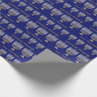 Z Hanukkah Gold Menorah Pattern Personalize This Wrapping Paper