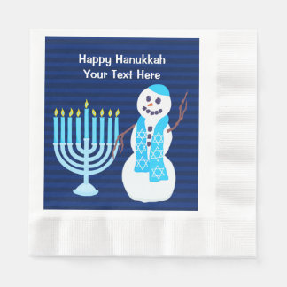 Z Hanukkah Jewish Snowman And Blue Menorah Large Disposable Napkins