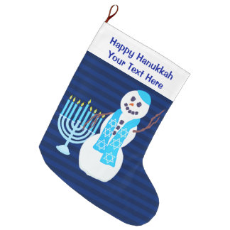 Z Hanukkah Jewish Snowman Blue Menorah For Kids Large Christmas Stocking
