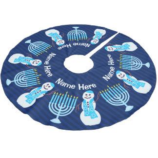 Z Hanukkah Jewish Snowman Menorah Chrismukka Fun Brushed Polyester Tree Skirt