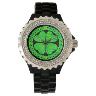 Z Lucky 4 Leaf Clover Celtic Shamrock Fashion Watch