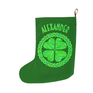 Z Lucky Celtic Shamrock Four Leaf Clover Green Large Christmas Stocking