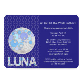 Z Luna The Full Moon Blue And Purple Space Geek Card