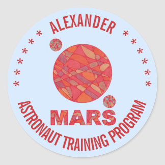 Z Mars The Red Planet Space Geek Solar System Fun Round Sticker