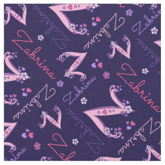Z monogram and personalized name Zabrina fabric