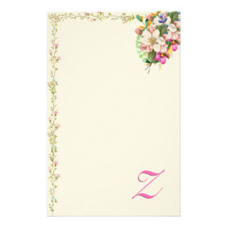Z Monogram Floral Bouquet Stationery