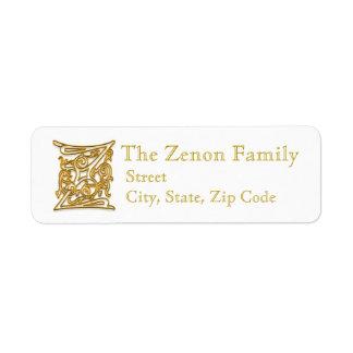 "Z Monogram ""Irish Gold"" design Address Lables Return Address Label"