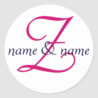 """Z"" monogram label, personalize first names Classic Round Sticker"