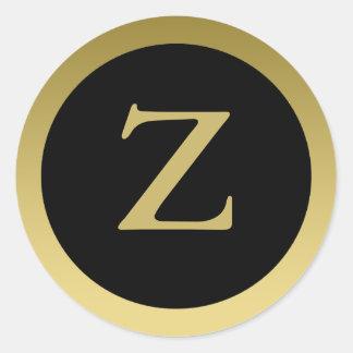 Z :: Monogram Z Elegant Gold and Black Stickers