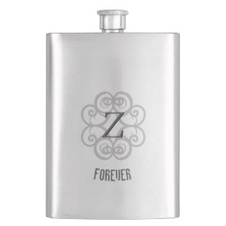 Z-Monogrammed Forever Personalized Template Hip Flask