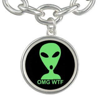 Z OMG WTF Alien Humor Silly LGM Fun Custom Jewelry Bracelets