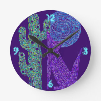 Z Purple Coyote Wolf Colorful Southwestern Design Clock