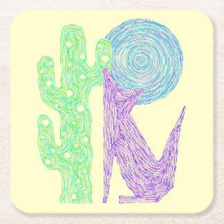 Z Purple Coyote Wolf Colorful Southwestern Design Square Paper Coaster