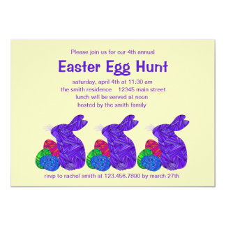 Z Purple Easter Bunny Easter Egg Hunt Party Card