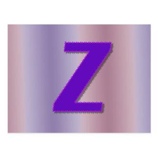 Z purple monogram postcard