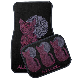 Z Red Cat And The Moon Cat Lover Custom Fun Car Mat