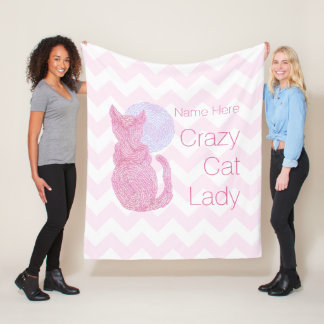 Z Red Cat And The Moon Crazy Cat Lady Fleece Blanket