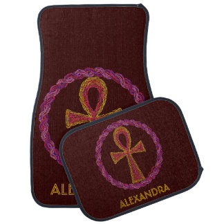 Z Red Gold Ankh Ancient Egypt Wicca New Age Custom Car Mat
