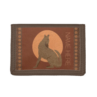 Z Rustic Coyote Southwest Faux Leather Brown Tan Tri-fold Wallet
