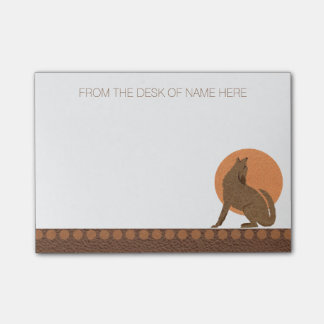 Z Rustic Coyote Southwest Leather Personalized Post-it® Notes