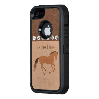 Z Rustic Horse Faux Leather iphoneSE Graphic Pony OtterBox Defender iPhone Case